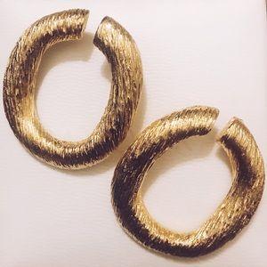 Vintage Gold Textured Hoop Earrings